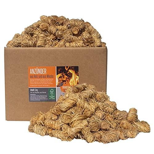 ORANGE DEAL 5 KG Öko Anzünder, Grillanzünder, Ofenanzünder, Anzündwolle aus Holzwolle + pflanzlichem Wachs - Brennen heiß - FSC® 100%