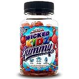 Wicked Gummy Co. Kidz Multivitamin Gummys   Strawberry Flavour Chewable Vitamin Gummies for Kids   with Biotin, Choline & Vitamins A-B6   Benefits Immune System/Eyesight (90 Childrens Gummy Vitamins)