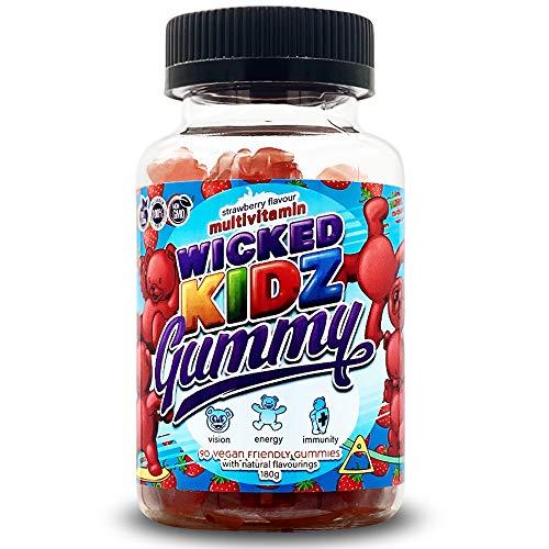 Wicked Gummy Co. Kidz Multivitamin Gummys | Strawberry Flavour Chewable Vitamin Gummies for Kids | with Biotin, Choline & Vitamins A-B6 | Benefits Immune System/Eyesight (90 Childrens Gummy Vitamins)