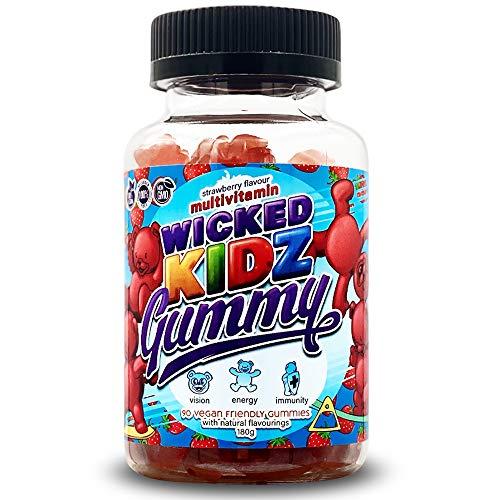 Wicked Gummy Co. Kidz Multivitamin Gummy | Strawberry Flavour Chewable Vitamin Gummies for Kids | with Biotin, Choline & Vitamins A-B6 | Benefits Immune System/Eyesight (90 Childrens Gummy Vitamins)