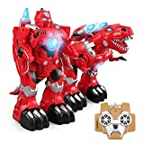 YARMOSHI Dinosaur Robot with Remote Control and USB Charger - Lights Up, Fires Missiles, Plays Music and Dances - Exciting Gift for Boys and Girls - Big: 17x7.5x11.5 Inches Age 3+ (RED)
