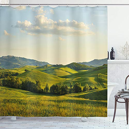 """Ambesonne Country Shower Curtain, Tuscany Hills Italy Meadow Greenery Pastoral Rural Scenery Farmland Scenic, Cloth Fabric Bathroom Decor Set with Hooks, 70"""" Long, Blue Green"""