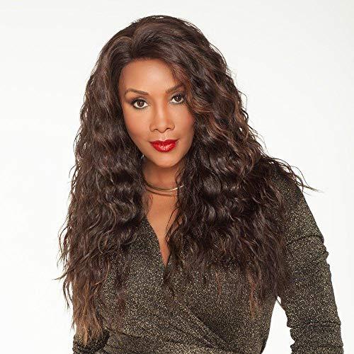 Donkerbruin natuurlijk krullend lang haar, 60cm, gesimuleerde vrouwelijke pruik, chemische vezel zijde op hoge temperatuur, pruik dagelijks gedragen door zwarte Braziliaanse vrouwen