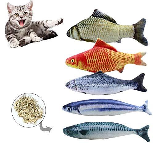 BTkviseQat Spielzeug mit Katzenminze 5 Stück Katze Interaktives Spielzeug Katze Fisch Spielzeug Plüsch Katze Kauen Spielzeug Set für Katze/Kitty/Kätzchen