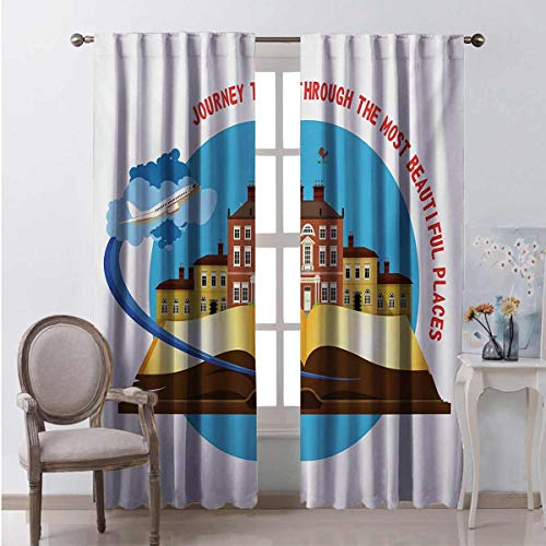 Toopeek Travel Wear-resistant color curtain Journey Through the Most Beautiful Places Quote with Airplane Taking off from a Book Waterproof fabric W96 x L72 Inch Multicolor