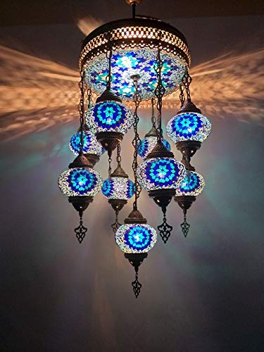 Turkish Moroccan Mosaic Ceiling, Mosaic Lamp, Hanging Pendant Chandelier, Light, Lighting, Home Decor, Turkish Light
