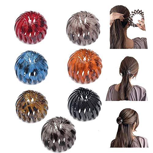 Ponytail Hairpin Curling Iron, Vintage Geometric Retractable Hair Loops, Birds Nest Hair Clip, Expandable Ponytail Holder, Fashion Retro Leopard Print Bird Nest Hairstyle Headbands for Women (7 Pcs)