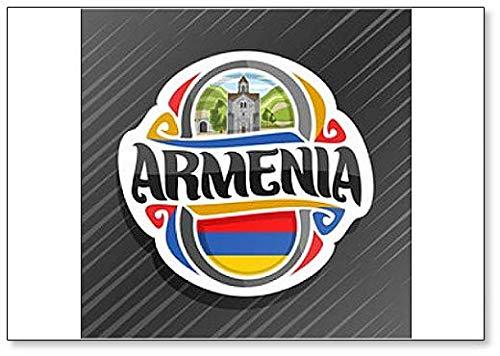 Kühlschrankmagnet, Glockenturm im Haghpat Kloster mit armenischer Flagge