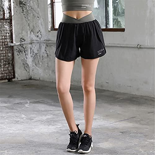 QinWenYan Shorts Deportivos para Mujer Pantalones Cortos de Deportes de Fitness para Mujer, Pantalones Deportivos Calientes Anti-luz y de Secado rápido Pantalones de Yoga para Correr