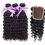 Hair Wig Brazilian Deep Wave Hair Wig Bundles With Closure Free Part 100% Alidoremi Human Hair Non Remy 3 Pcs Weft & 1 Pc Closure (Length : 10 12 14 Closure 10, Part Design : Free Part)