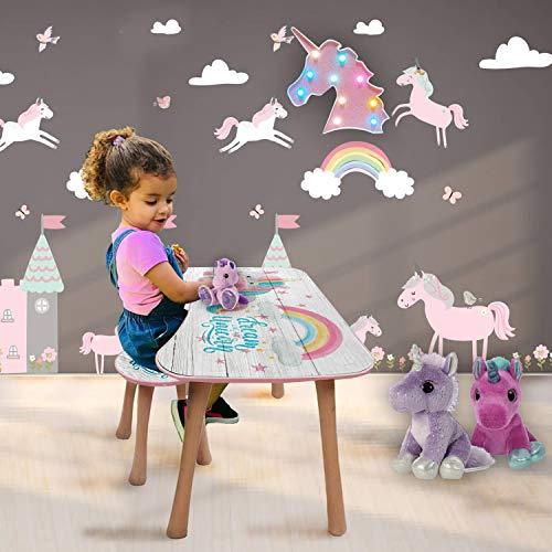 b'home Kindertisch und Hocker im Set, Aktivitäten-Schreibtisch, Holz, Kinderzimmermöbel, Lerntisch (klein, Einhorn)