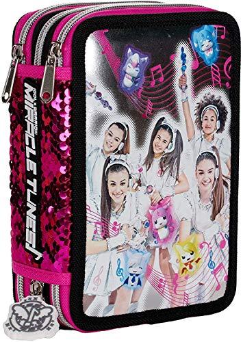 ASTUCCIO SCUOLA Miracle Tunes 3 PIANI COMPLETO fucsia + omaggio portachiave girabrilla + penna colorata + segnalibro