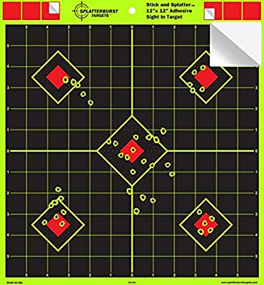 "12""x12"" Sight in Adhesive SPLATTERBURST Shooting Targets - Instantly See Your Shots Burst Bright Fluorescent Yellow Upon Impact! (10 Pack)"