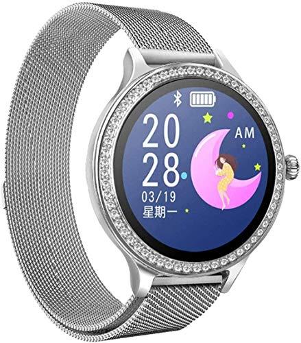 Reloj inteligente para mujer, pulsera de actividad física, monitor de ritmo cardíaco, presión arterial, reloj inteligente para mujeres, fácil de usar, plateado