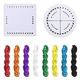 CDJX Set di Dischi Kumihimo,2 Pezzi Quadrati Rotondi Kumihimo Perline,Disco Intrecciato e 8 Pezzi,Filo di Nylon,Filo di Giada macramè (8 Colori), Kit di Tessitura Intrecciata per Bracciale Fai da