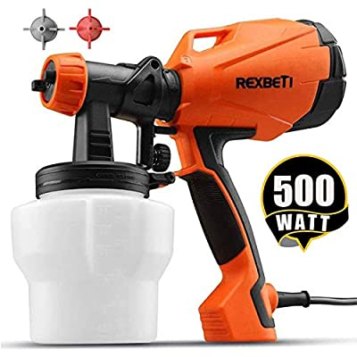 REXBETI Ultimate-750 Paint Sprayer, 500 Watt High Power HVLP Home Electric Spray Gun, Lightweight, Easy Spraying and Cleaning, 3 Nozzles (1 Nozzle has Already Been Installed on The Gun) by REXBETI