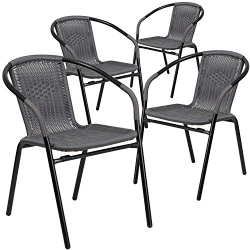 Flash Furniture 4 Pk. Gray Rattan Indoor-Outdoor Restaurant Stack Chair