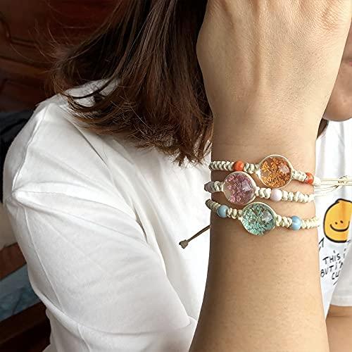 FIISH Pulsera de Cuerda Trenzada de pétalo de Vida de árbol de Bola de Cristal Transparente para Mujer Pulsera de Novia de REN de Moda