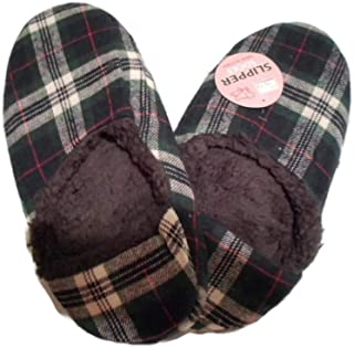 Gr8 Life Co. Mens Slipper Socks Plaid Fleece Grippers Non-Skid Non-Slip Slippers Size 10-13