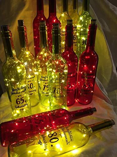 Flaschenlicht mit Spruch zum 65,70,75,80,85 oder 90. Geburtstag jeden Anlass Flaschen Licht Warmweiß, 20 LED Flaschen-Lichterkette Batteriebetrieben