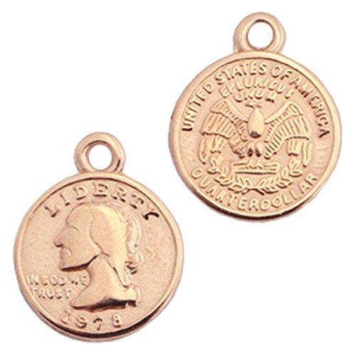 Sadingo hanger munt met oogje van DQ metaal - DIY sieraden armband, enkelbandje, oorbellen - 1 stuk - 15 x 13 mm