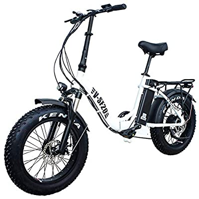 Electric Bike for Adults, Folding Electric Bicycles with 20 Inch Fat Tire 750W Motor 48V 13AH Removable Battery, Beach Snow Hunting E-Bikes for Women Men Elder (White)