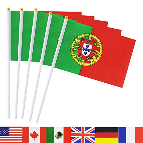 TSMD Portugal Stick Flag, 50 Pack Hand Held Small Portuguese National Flags On Stick,International World Country Stick Flags Banners,Party Decorations for World Cup,Sports Clubs,Festival Events