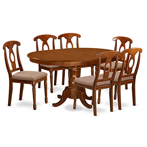 PONA7-SBR-C 7 Pc Dining room set-and Oval Dining Table with Leaf and 6 Dining Chairs