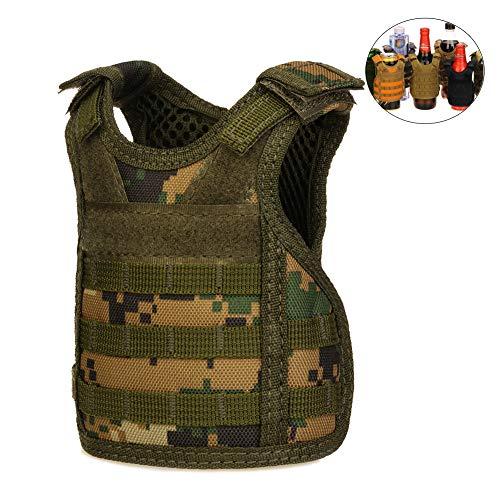 CyberDyer Bier Weste Getränkekühler Tactical Mini Molle, verstellbarer Getränkehalter für 340 ml oder 450 ml Dosen oder Flaschen Dschungel-Camouflage