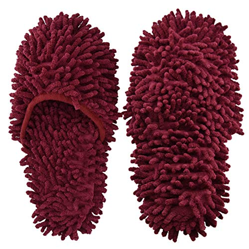 Microfiber Slippers Floor Cleaning Mop Men and Women House Dusting Slippers Floor Dust Dirt Cleaning Slipper (Red)