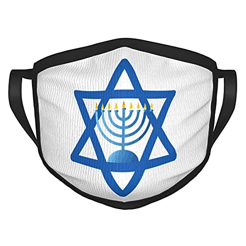 Hanukkah Face Mask with Black Border Washable Reusable for Women Men