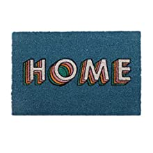 Relaxdays Felpudo de Coco para Puerta Home, 40 x 60 cm, Antideslizante, Moderno, para Interior y Exterior, Color Azul