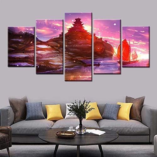 KWzEQ Leinwand Malerei Sonnenuntergang Boot Dock Poster modulare Wandkunst Tapete Dekoration Wohnzimmer nach Hause,Rahmenlose Malerei,20x35cmx2, 20x45cmx2, 20x55cmx1