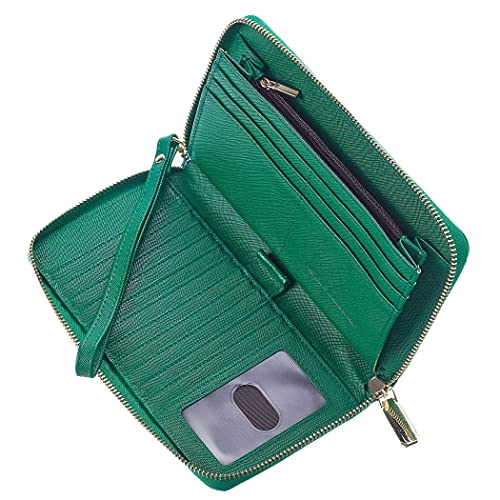Chelmon Large Capacity Womens Wallet Leather RFID Blocking Purse Credit Card Clutch(CH Green)