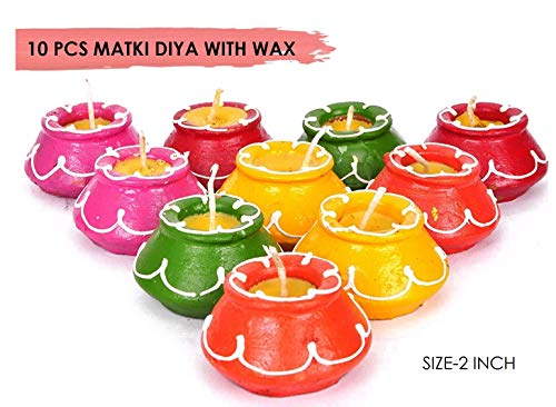 10-teiliges Diwali-Geschenk-Set, natürliche Öllämpchen, Dekorationen, traditionelle Matki, mit Baumwolldocht Deepawali Diya-Lampe. Diwali Steingut-Lampe. Öllampe.