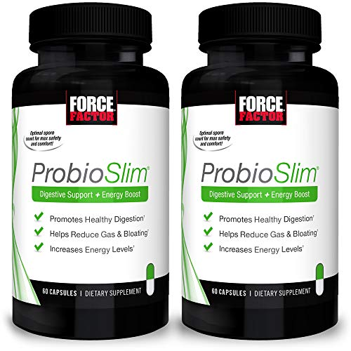 ProbioSlim Probiotic Supplement for Women and Men with Probiotics and Green Tea Extract, Reduce Gas, Bloating, Constipation, Support Digestive and Gut Health, Force Factor, 120 Capsules (2-Pack)