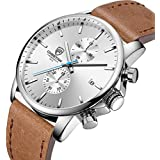 Men's Watch Fashion Sleek Minimalist Quartz Analog Brown Leather Waterproof Chronograph Watches, Auto Date in Blue Hands, Color: Silver White