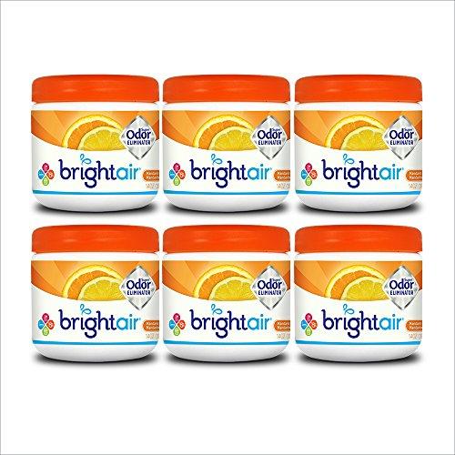 Bright Air Solid Air Freshener and Odor Eliminator, Mandarin Orange and Fresh Lemon Scent, 14 Oz Each, 6 Pack