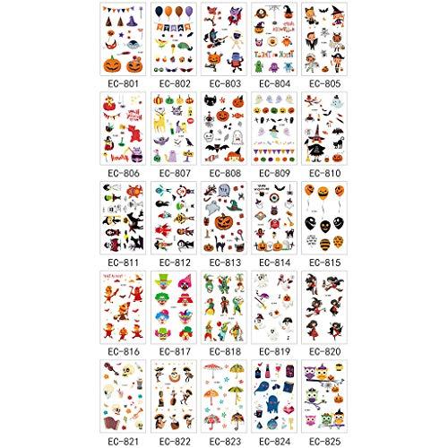 JOYKK 15 Pezzi Adesivo per Tatuaggi di Halloween Divertente Cartone Animato Divertimento Bambini Ragazzi Ragazze Adesivi per Tatuaggi Impermeabili USA e Getta