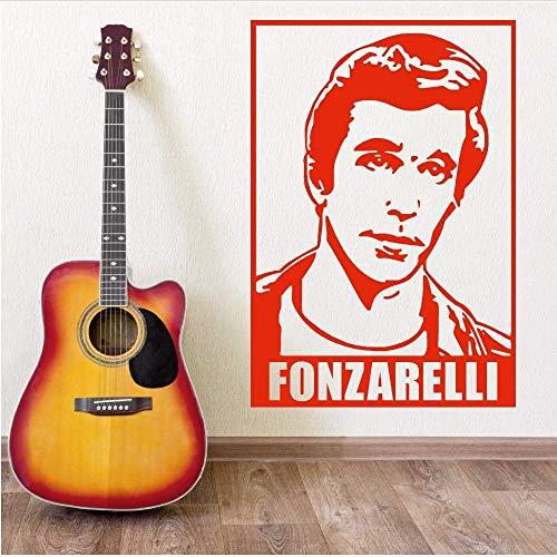 Het hoofd Silhouette muursticker Vinyl kamer huis muur decoratieve muur muurschildering Fonz met gitaar behang 57 * 84.cm