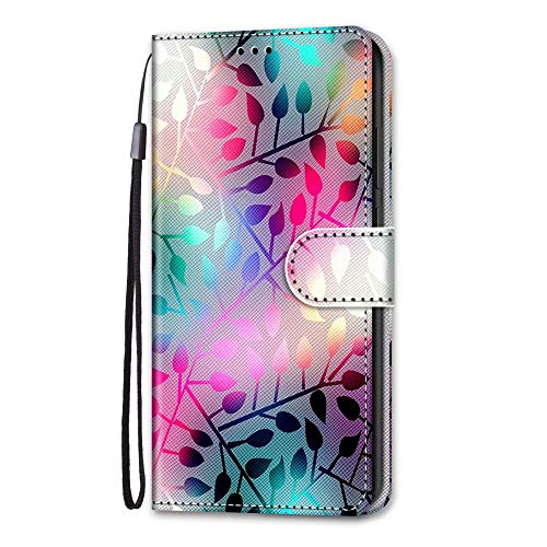 Huawei P smart 2020 Case, 3D Art Shockproof Premium Soft PU Leather Shock-Absorption Notebook Wallet Phone Cases with Kickstand Function Card Holder ID Slot Slim Flip Protective Cover Color Leaf