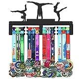 WEBIN Colgante de Gimnasia Femenina, Titular del Trofeo para gimnastas, colgadores de medallas para los Deportes, Rack de exhibición de Metal Negro Mate