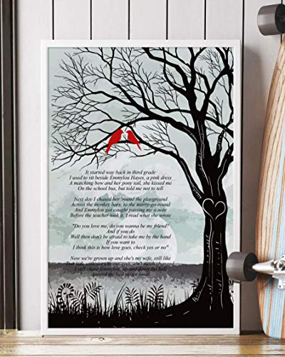 PAPRADA Decor Gift - Check Yes Or No Song Lyrics Tree and Birds Portrait Poster Print (12' x 18')