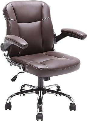 【安心一年保証】Myka's オフィスチェア レザー調 オフィスチェアー ロッキング デスクチェア コンパクト パソコンチェア ワークチェア PCチェア OAチェア パソコンチェアー 疲れにくい おしゃれ チェアー 腰痛 タイニー 事務椅子 学習チェア 人気 (Brown)