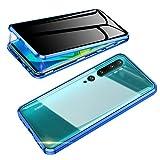 Jonwelsy Anti-Spy - Carcasa para Xiaomi Mi Note 10 / CC9 Pro, 360 grados, protección de la casa, cristal templado antipeep funda, absorción magnética antigolpes de metal para Mi CC9 PRO (azul)