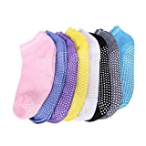 QEES 8 Pairs Women's Dance Socks, Yoga Barre Pilates Ballet Sport Non Slip Socks, Anti-slip Socks (8 Colors)