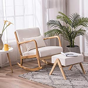 SSLine Modern Upholstered Rocking Chair with Ottoman Mid-Century Nursery Rocker Armchair with Pillow Solid Wooden Frame Accent Lounge Glider Rocking Chair Footstool Set for Living Room Bedroom