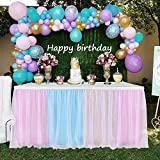 9ft Rainbow Tulle Table Skirts for Rectangle or Round Table Pink Blue Yellow Three Color Tutu Table Skirt Decoration for Baby Shower Wedding Birthday Party Home Decor(multicolor, L9(ft)H 30in)