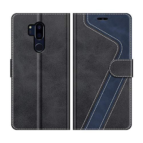MOBESV Handyhülle für LG G7 ThinQ Hülle Leder, LG G7 ThinQ Klapphülle Handytasche Hülle für LG G7 ThinQ Handy Hüllen, Modisch Schwarz