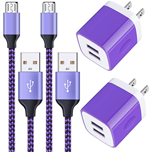 Android Charger Cable, 2-Pack 2.1A Dual Port USB Adapter Power Plug with 6FT Fast Charging Micro USB Cable Android Phone Charger for Samsung Galaxy S7 S6 S5 J7V J7 J8 Note 5, LG K50S K50 K40S K40